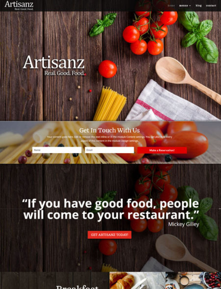 restuarant wordpress divi theme
