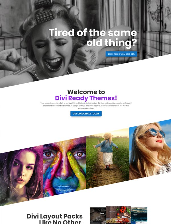 Divi Theme Diagonal Layout