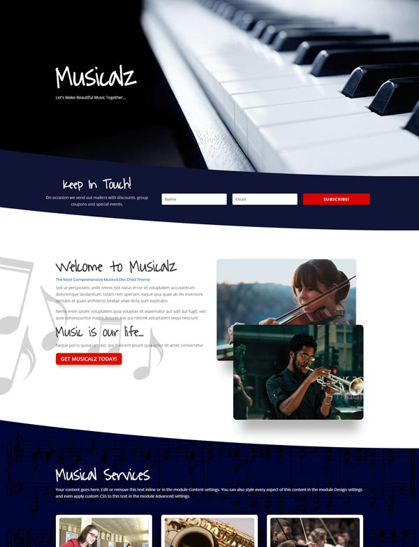 Musical Divi Layout Theme