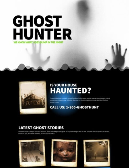ghost hunter divi theme layout