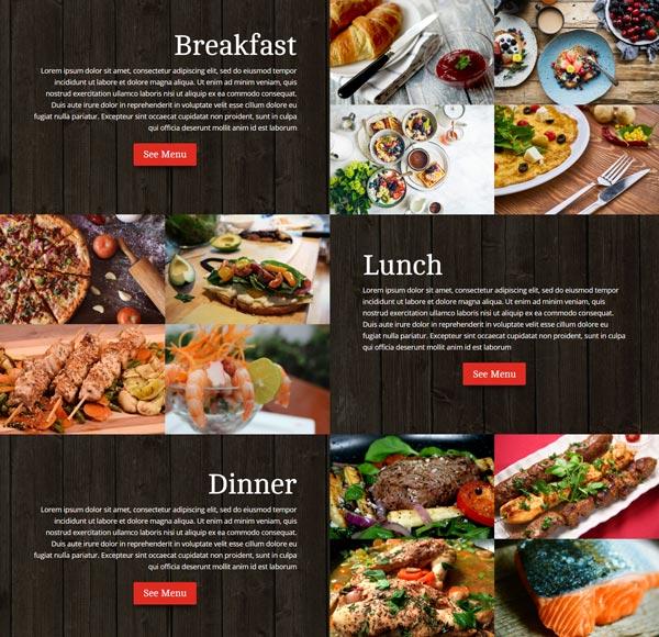 Restaurant divi child theme diner template