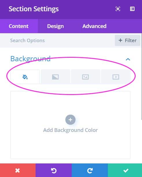 Divi Section Settings