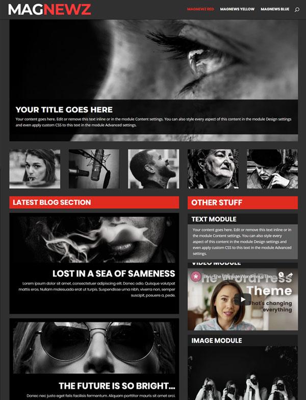 Divi Magazine Blog Layout Template